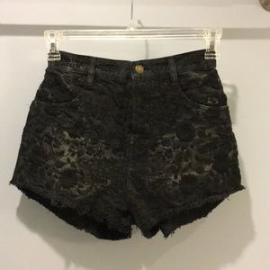 Free People High-Waisted Black Floral Denim Shorts